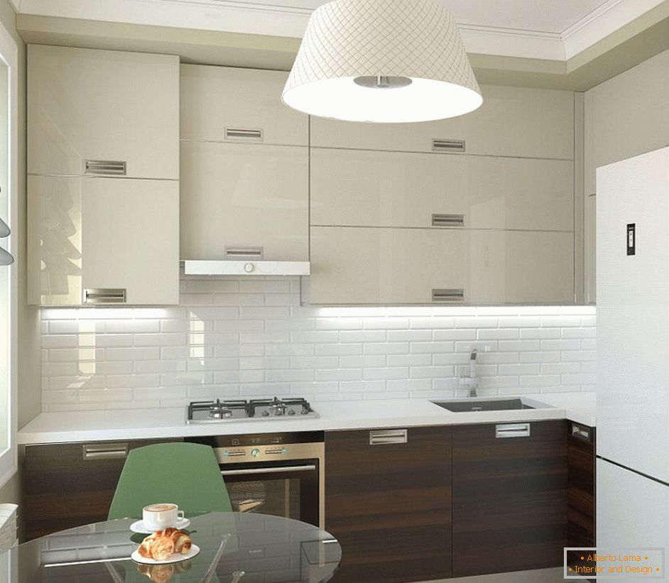 Kitchen in apartment with dining area