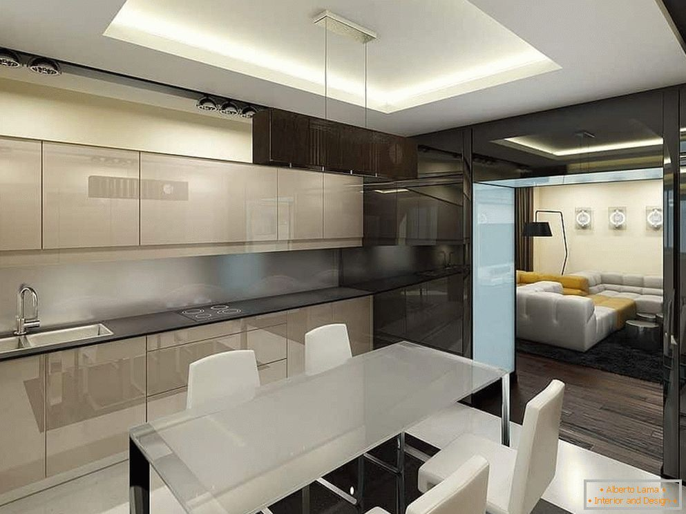 kitchen design in high-tech style