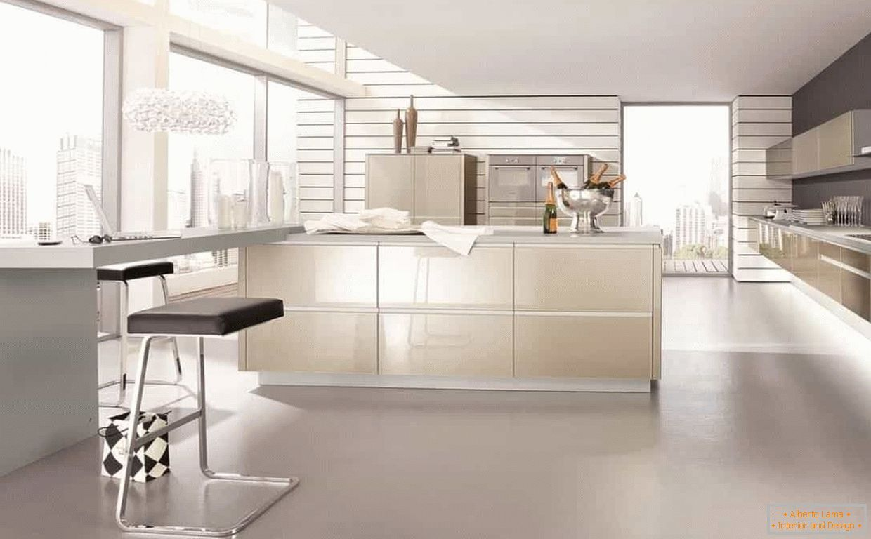 Huge kitchen in high-tech style