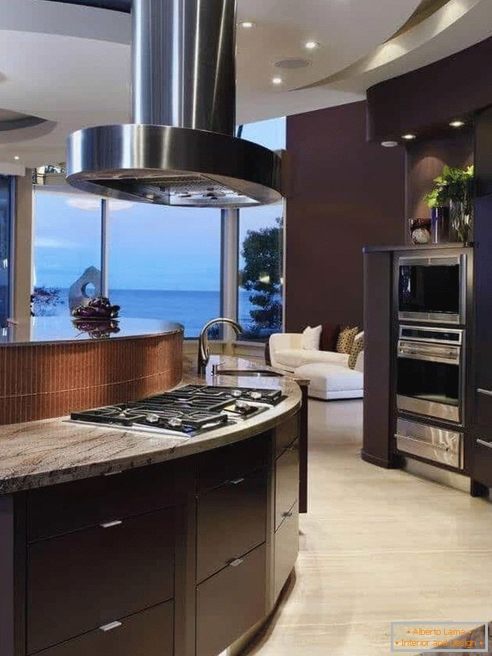 High-tech cooker hood in a large kitchen