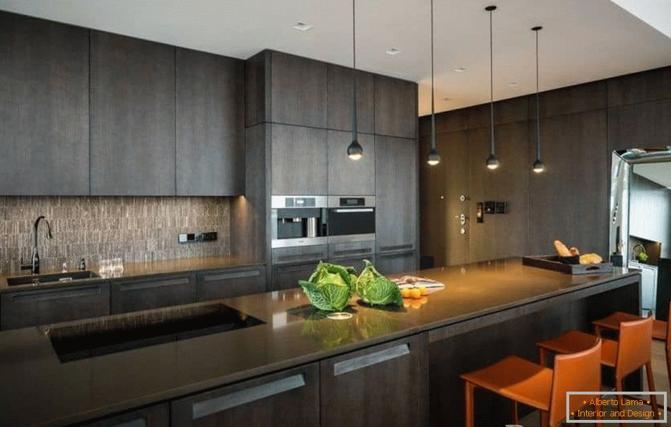 Kitchen in high-tech style in dark color