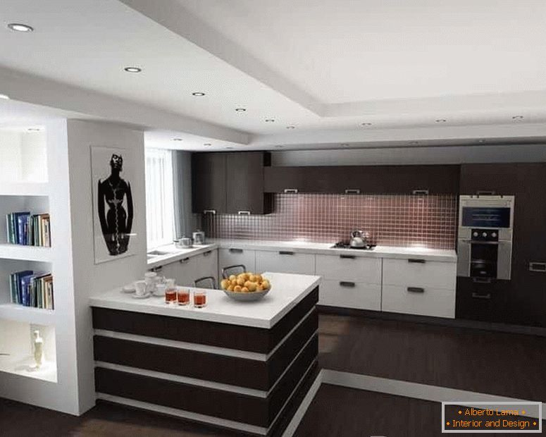 Two-level ceiling in the kitchen in high-tech style