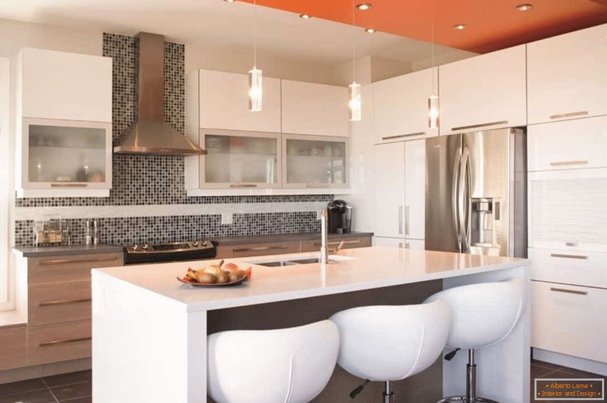 The combination of color on the ceiling in the interior of the kitchen in the style of high-tech
