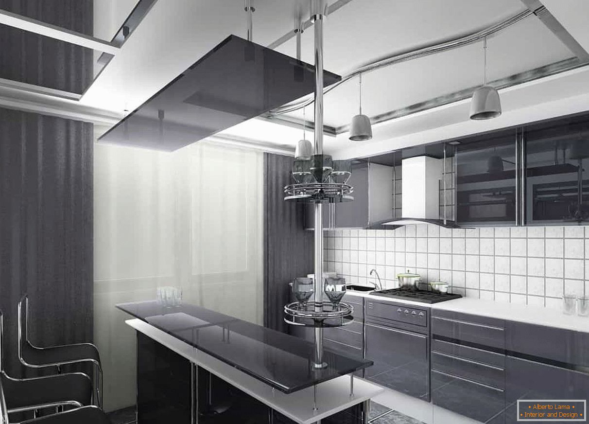 Dark curtains and a dark facade of the kitchen combined with a white apron and ceiling