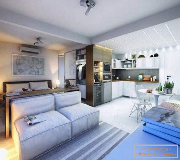 Ideas for the design of studio apartments 30 sq m - photo of living room, bedroom and kitchen