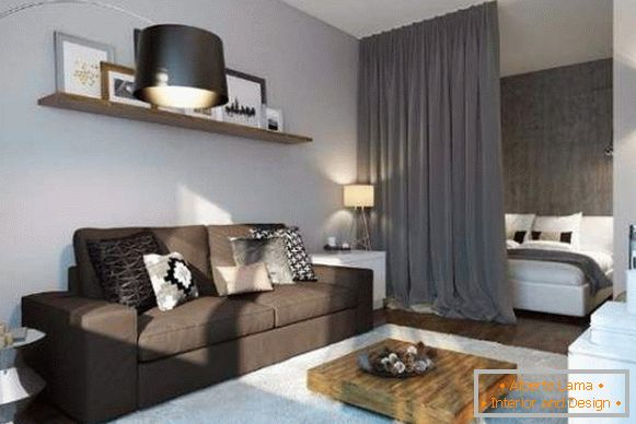 Ideas for the design of studio apartments - the option of dividing the bedroom and living room
