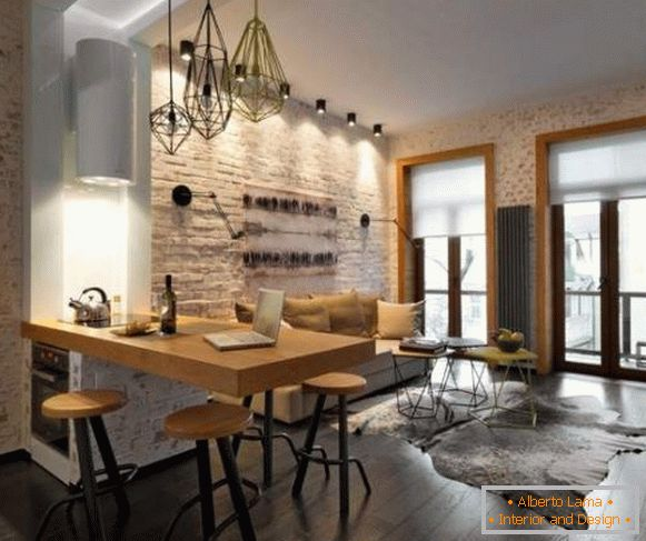 Design studio apartment with brick wall