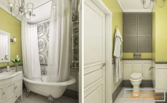 Ideas for the design of studio apartments 40 sq. M - photo of a bathroom in a classic style