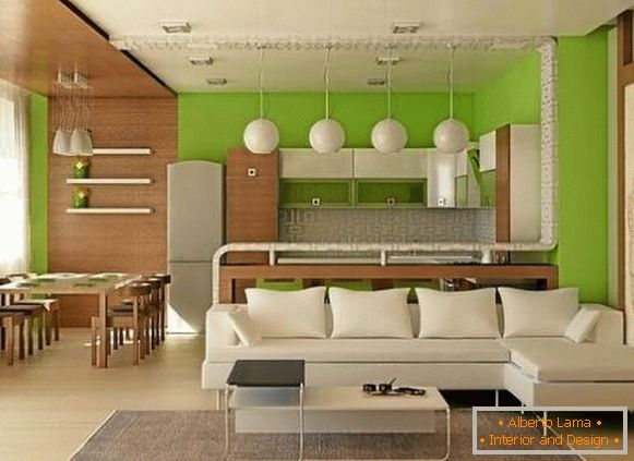 Design project of studio apartment of 25 sq m in white, green and brown tones