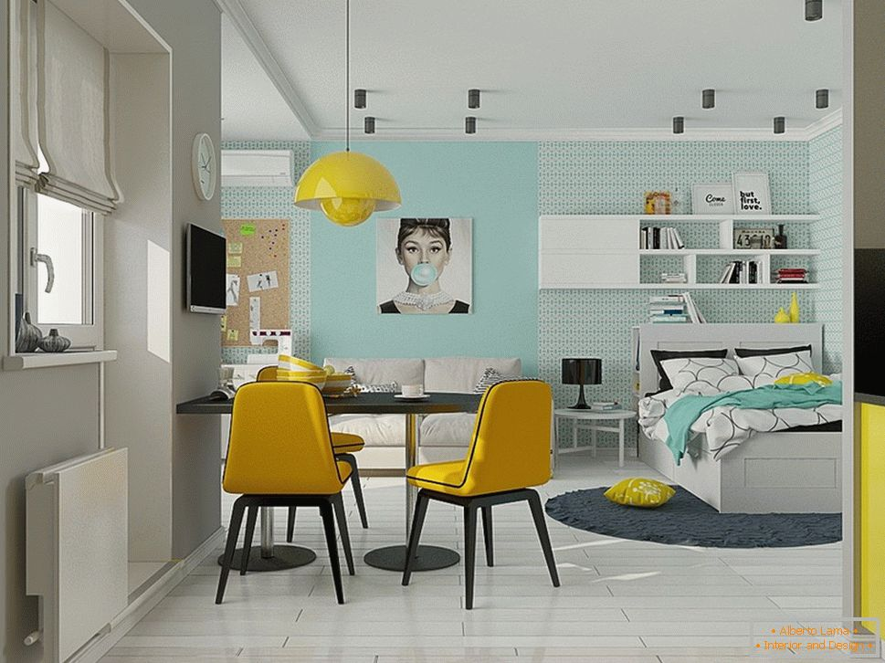 Interior design of a small house with bright accents