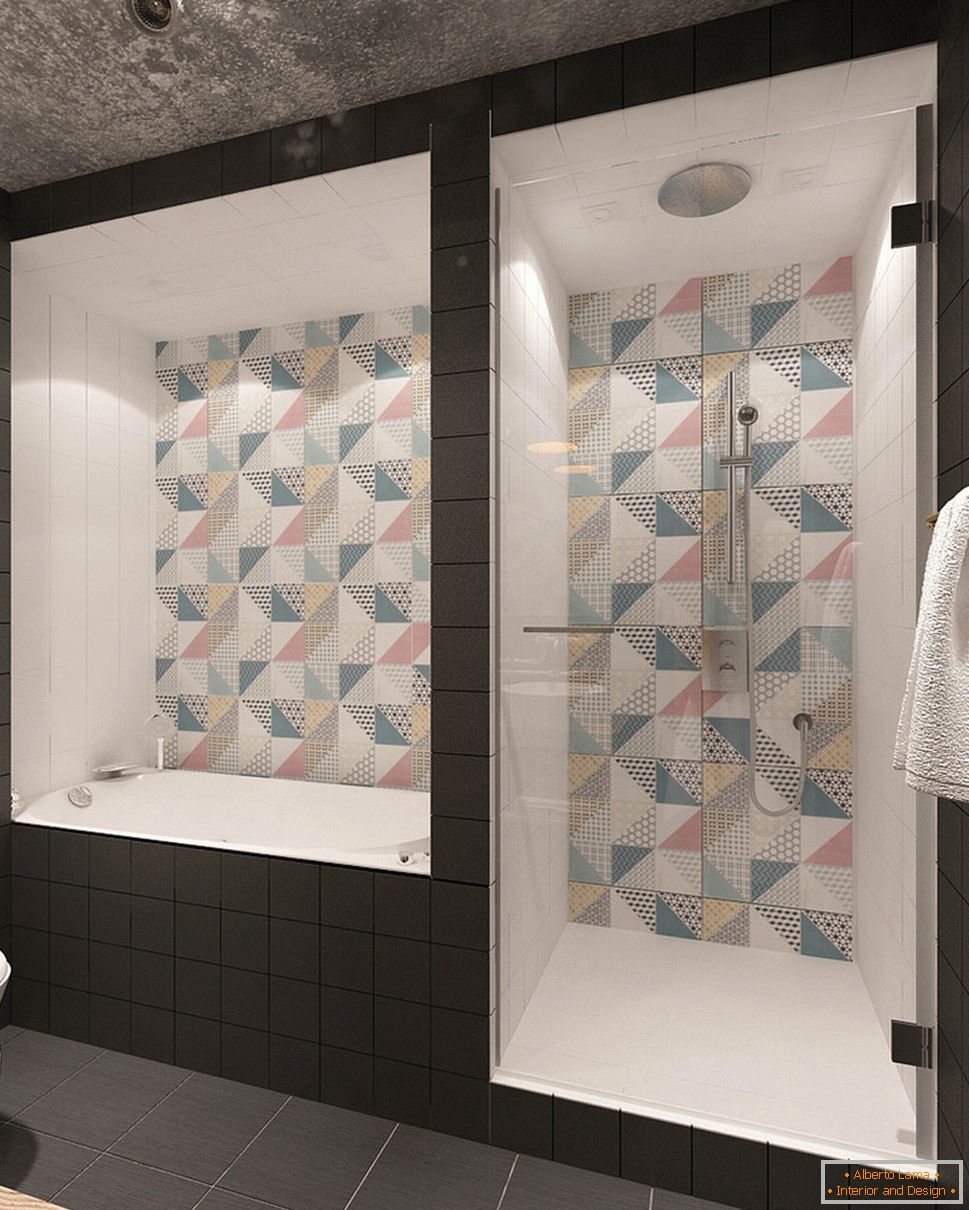 Beautiful tiles in the bathroom interior