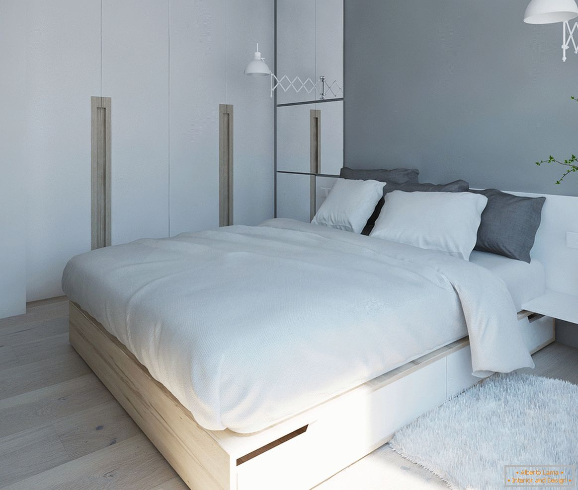 Bedroom in white-gray palette