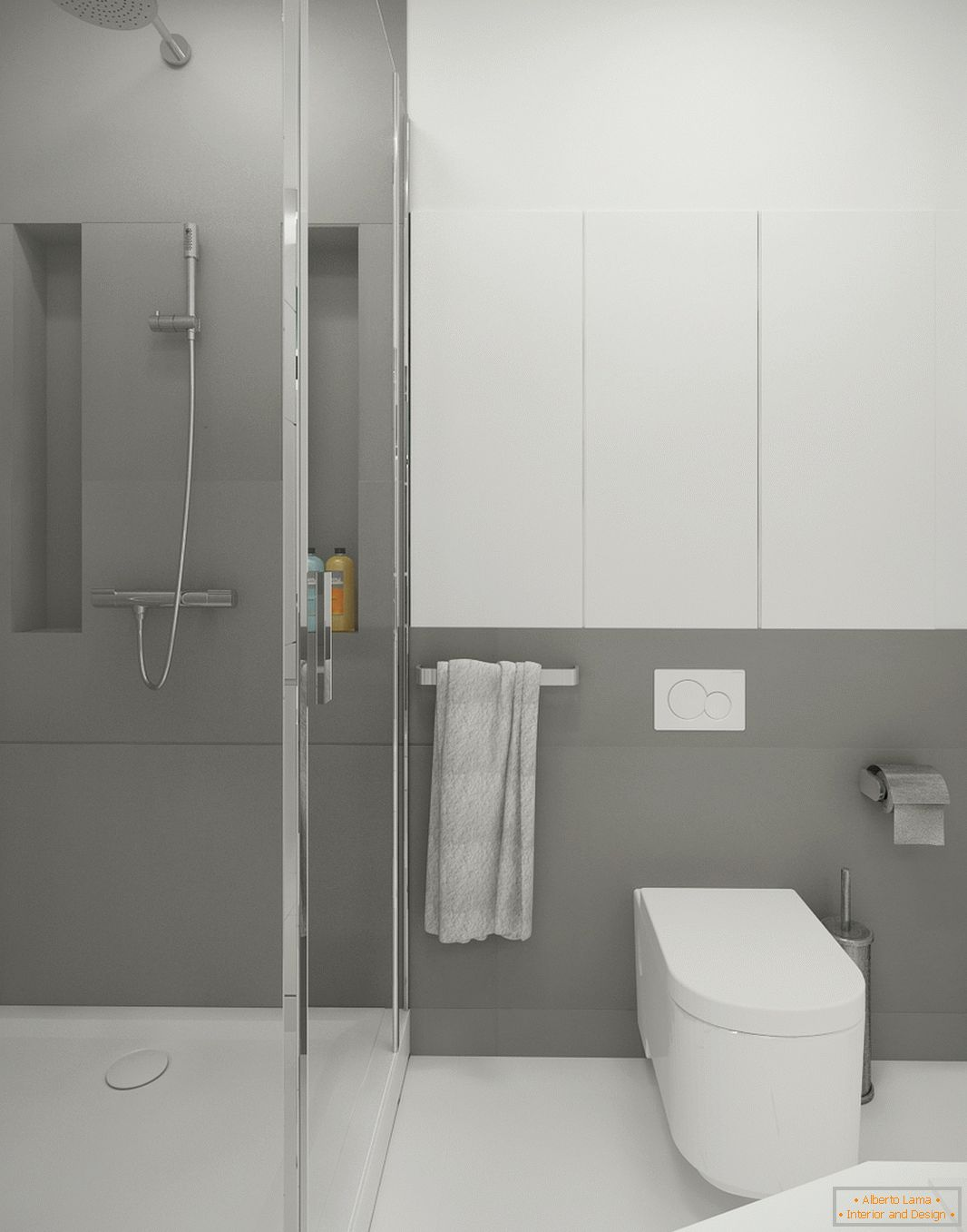 Bathroom in white-gray color