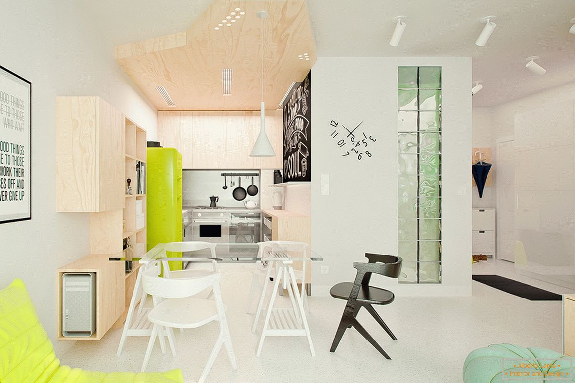 Interior of a light small house with bright accents
