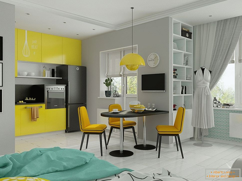 Yellow accents in a light interior