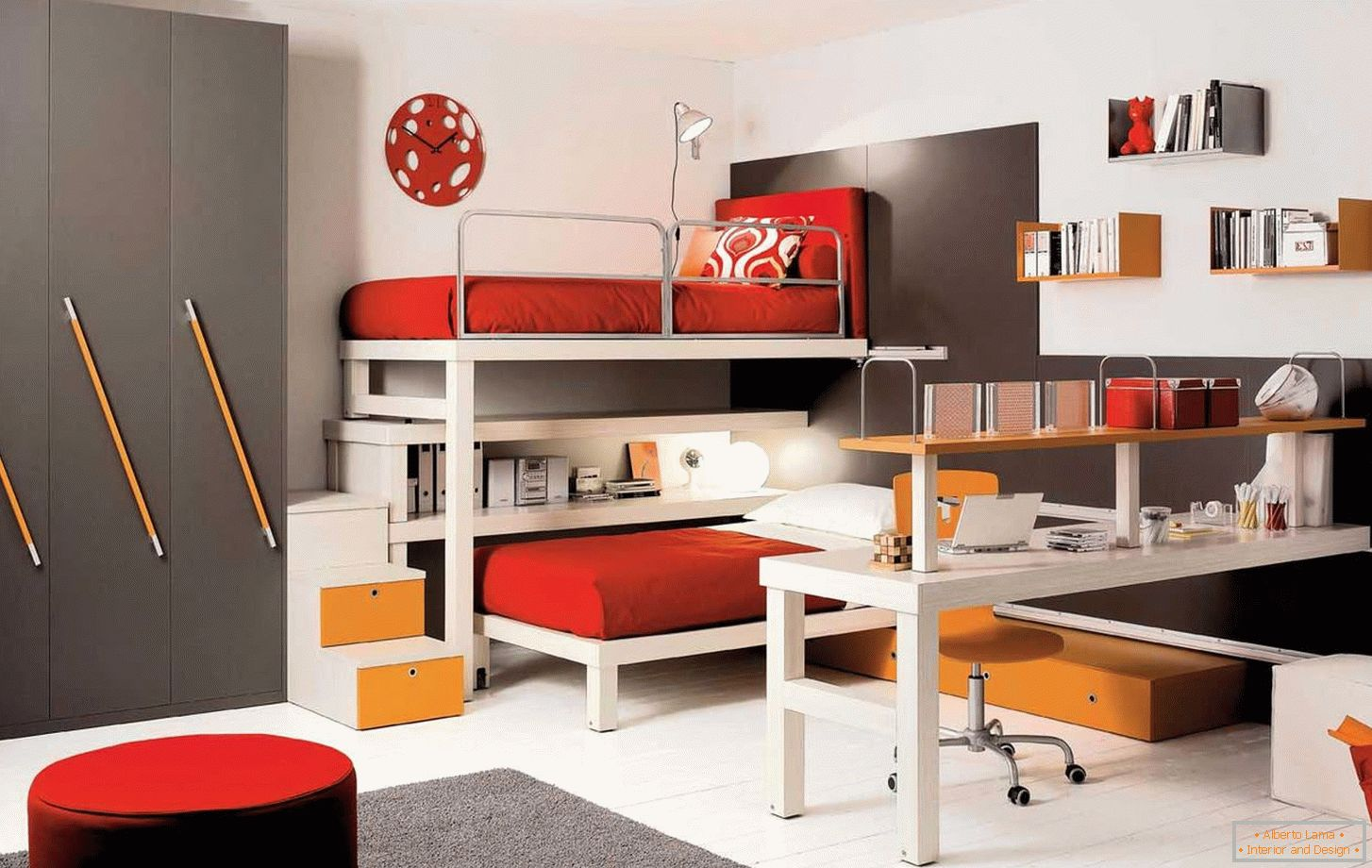 Red and white children's room decor