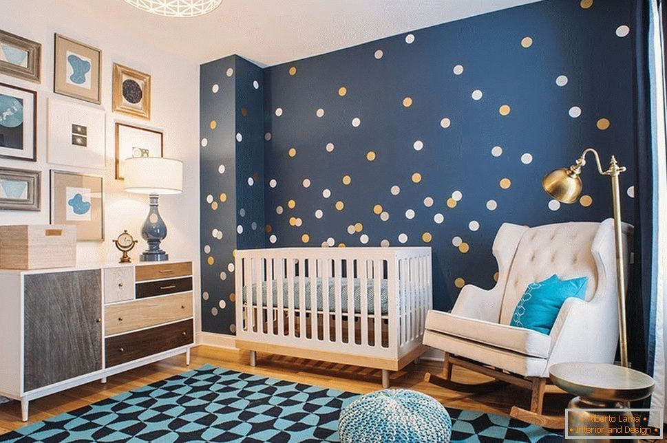 Decor room for a child with blue walls