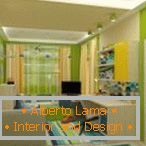 Bright green walls in the nursery