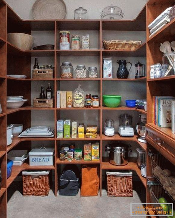 Wooden shelving for pantry
