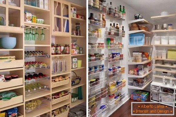 How can a pantry be organized - photo design