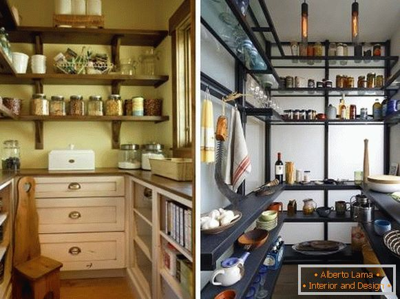Design of a small storage room in an apartment with shelves and shelving