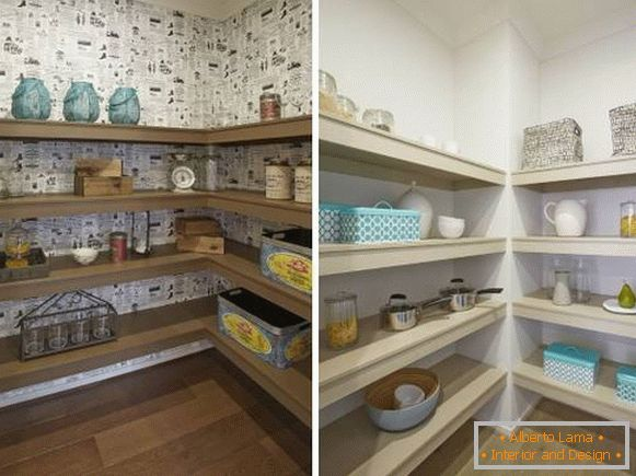 Wall shelves in the pantry - photos of rooms