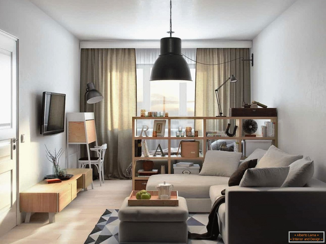 Living room and bedroom in one-room apartment