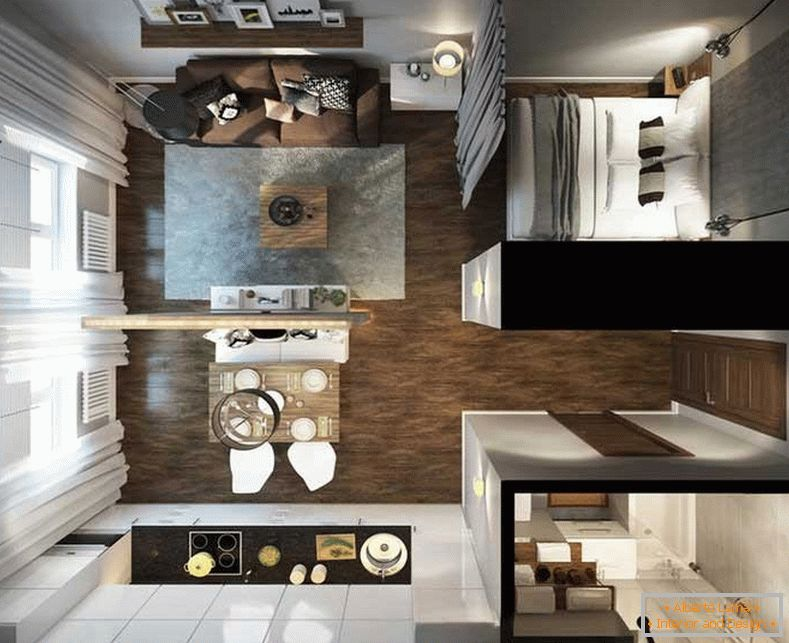 One-room apartment design project