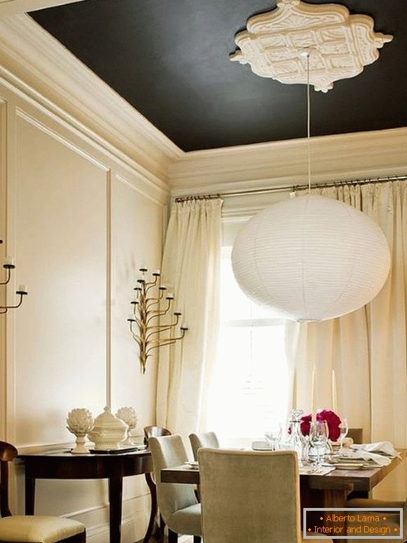 Black ceiling with white stucco