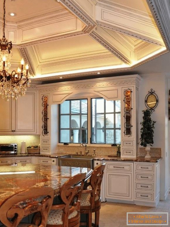 Luxury ceiling in a classic kitchen
