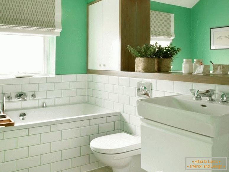 White-green combined bathroom