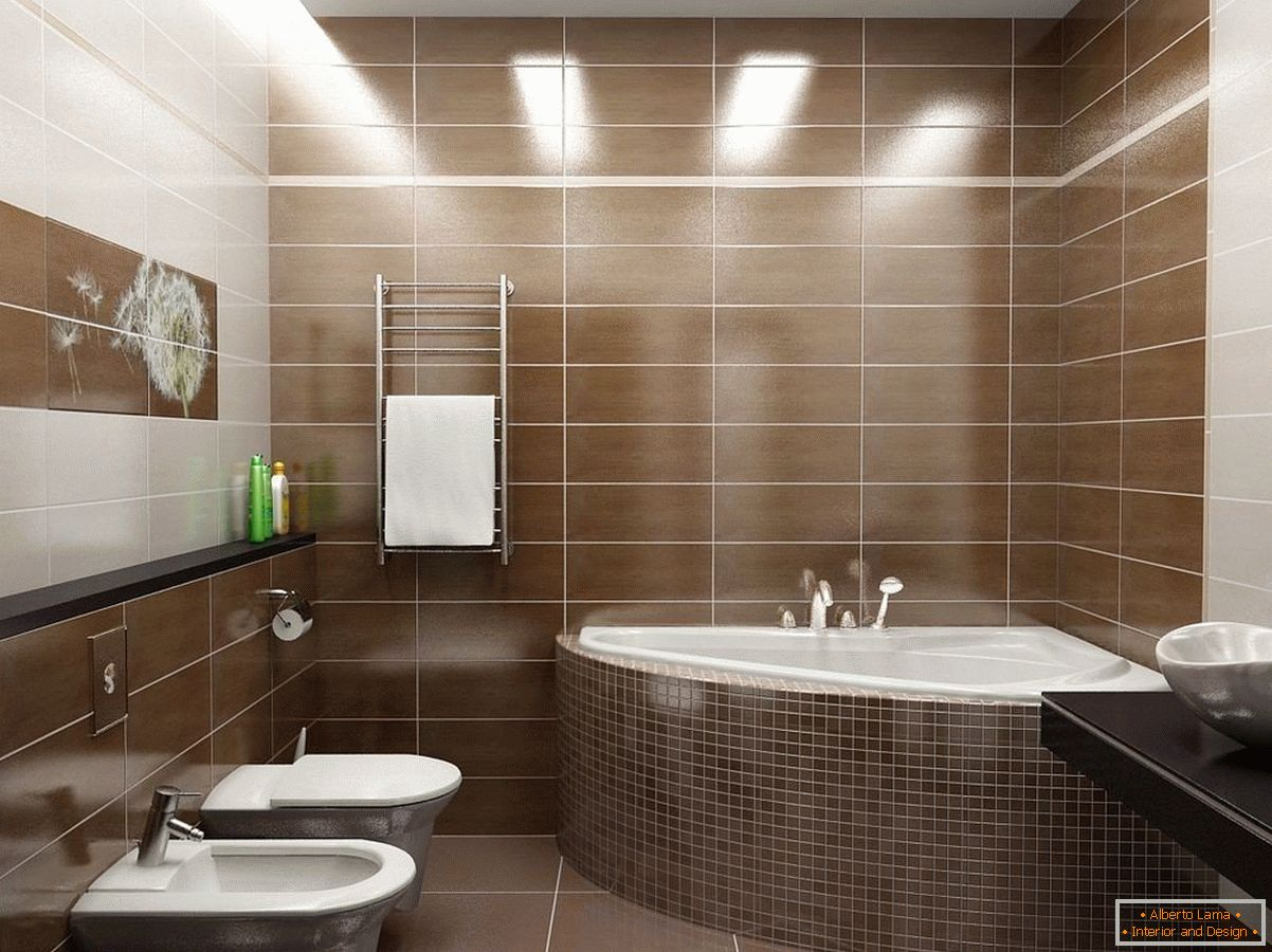 Brown-white combined bathroom