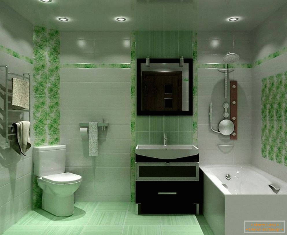 A bathroom in shades of green