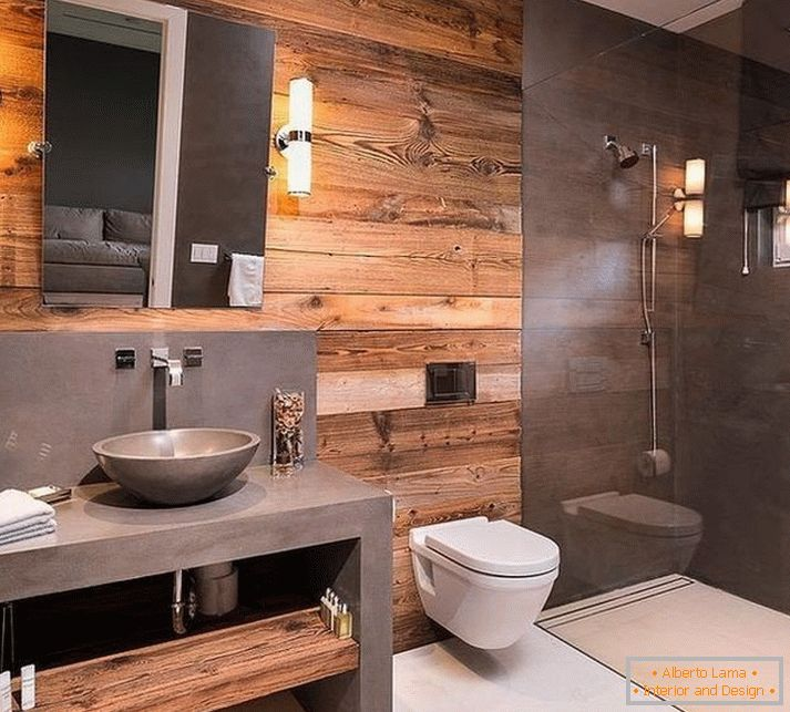 Bathroom with toilet in loft style