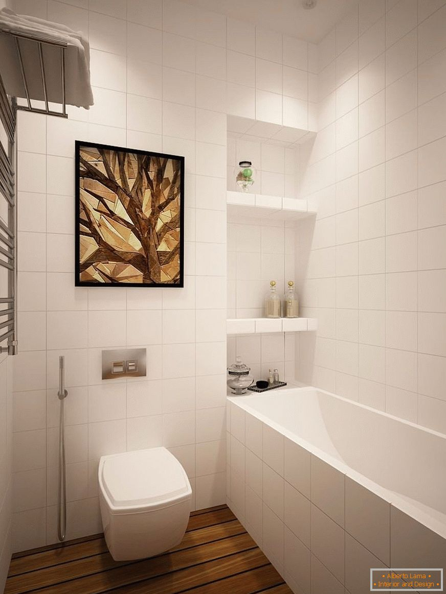 Bathroom with hygienic shower and bath