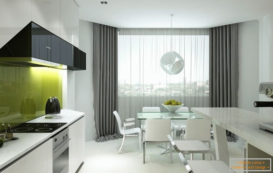 White kitchen interior with gray curtains