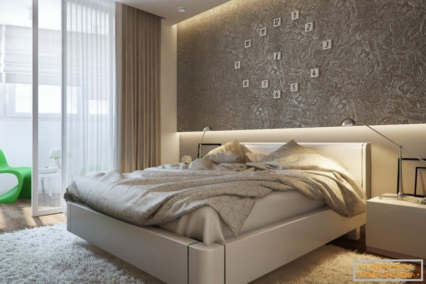 Modern bedroom in the apartment