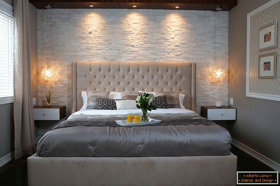 Artificial stone wall in the bedroom