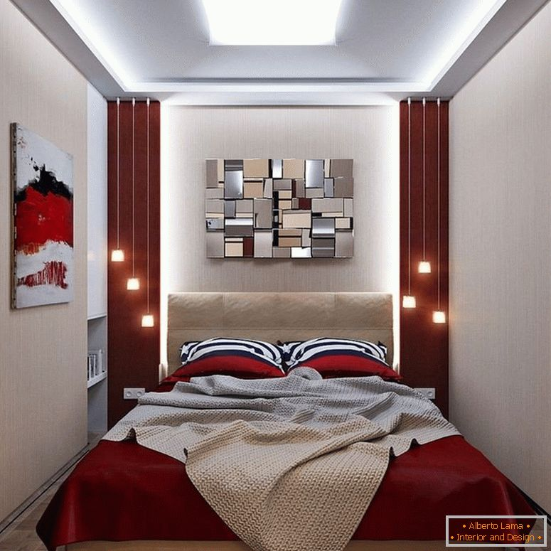 Narrow bedroom of 10 squares