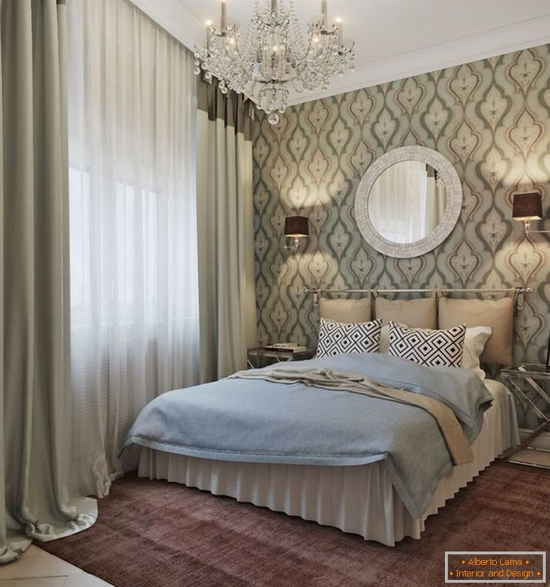 Stylish bedroom in classic style