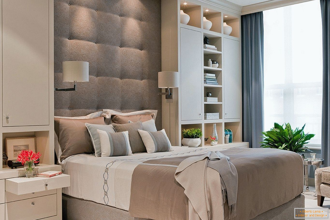 High bed with a soft headboard
