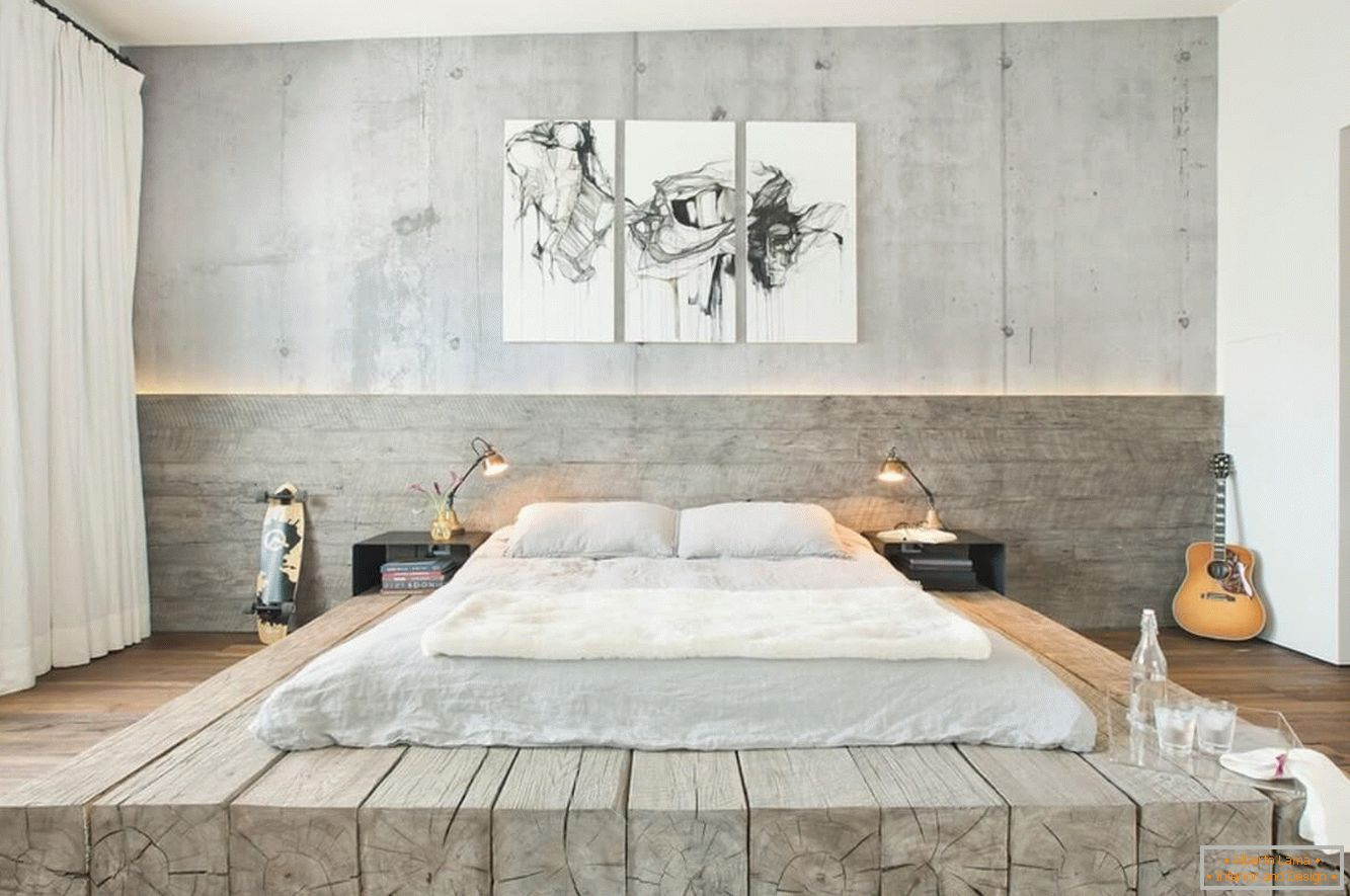 Wood and concrete in the bedroom