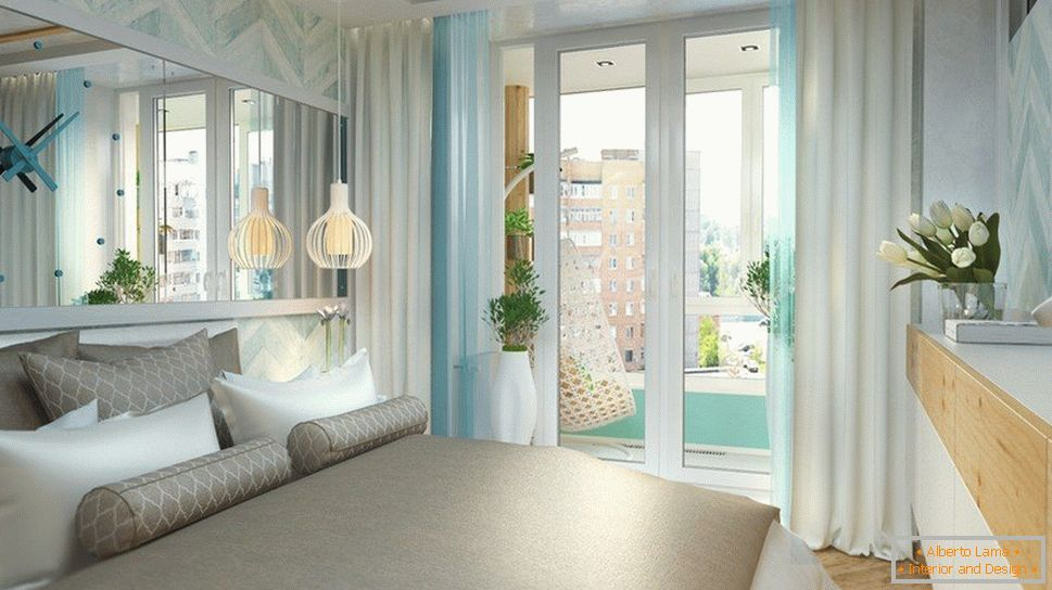 Bedroom with panoramic doors to the balcony