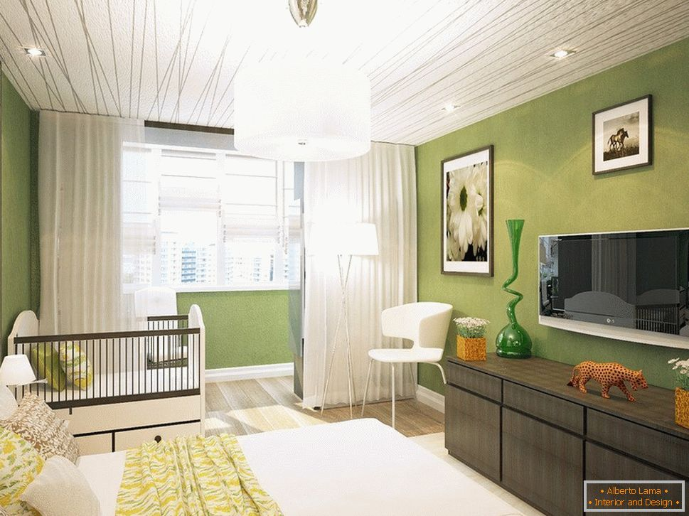 Light green bedroom with exit to the balcony