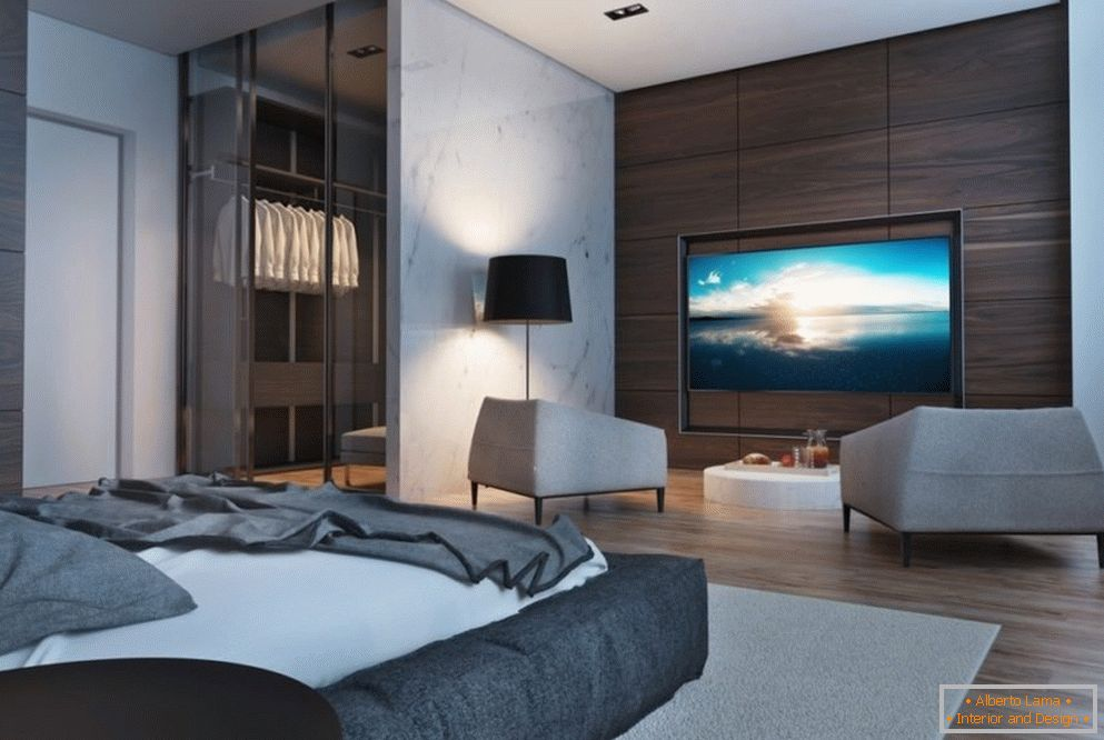 Bedroom design in high-tech style