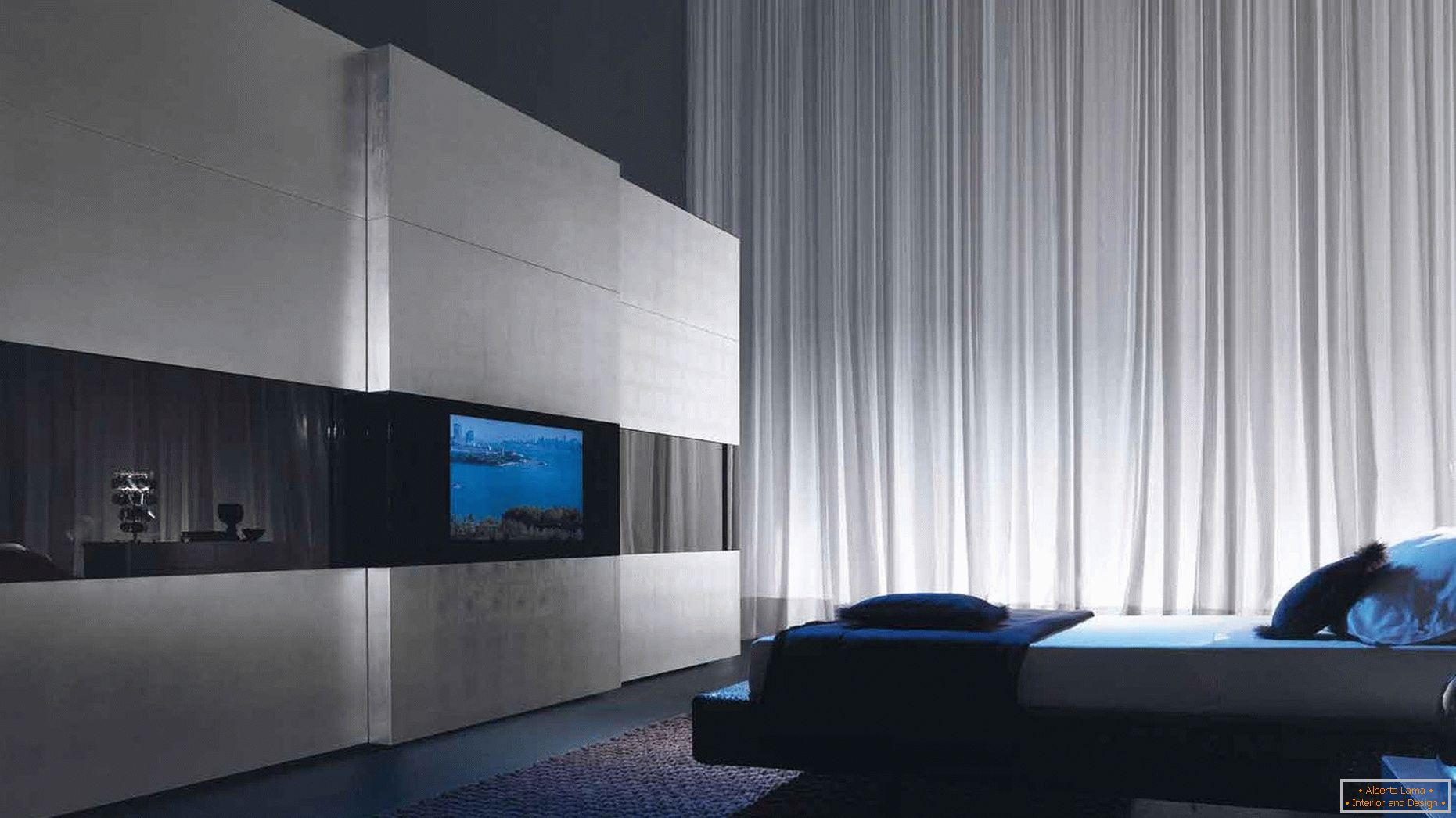 Decor in the bedroom in the style of high-tech