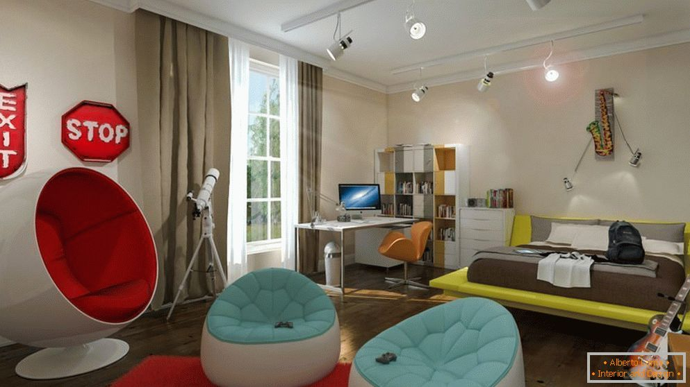 Children's bedroom in high-tech style