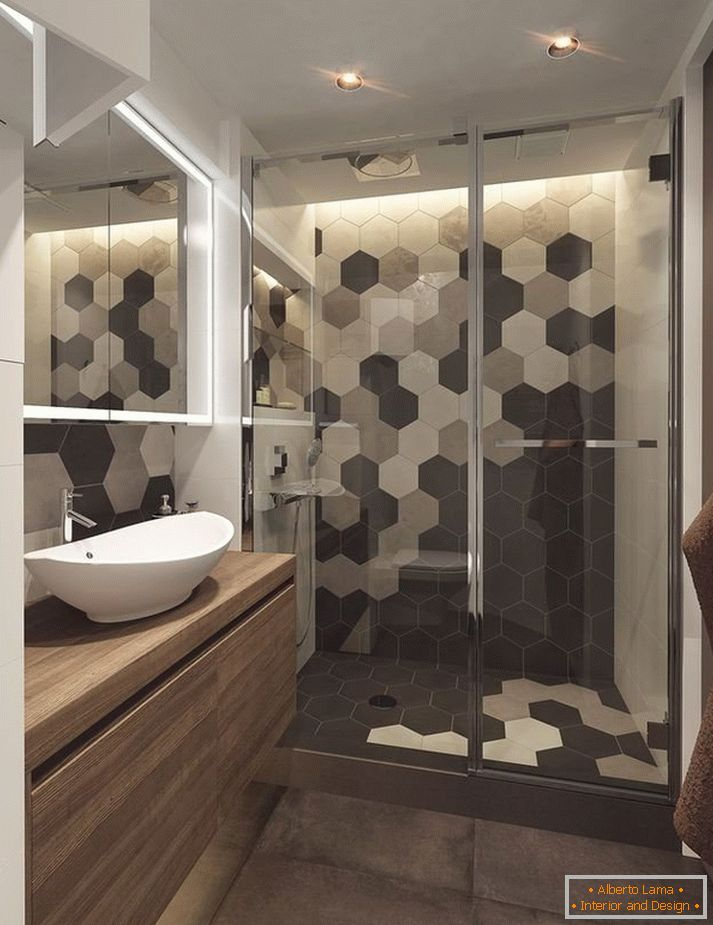Shower behind a glass partition