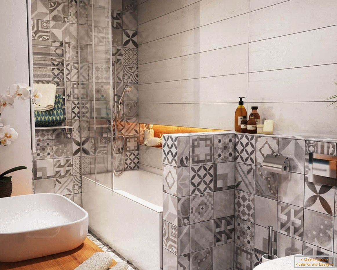 Combination of tiles in a small bathroom
