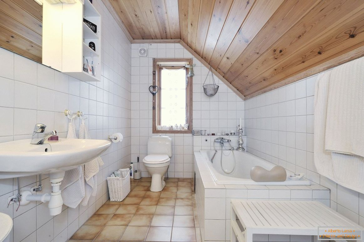 Bathroom in the attic in a private house